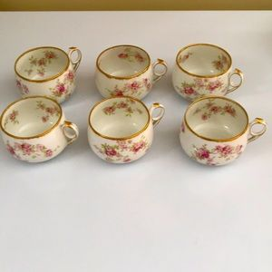 Limoges Antique teacups with roses set of 6